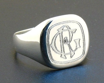 14X14MM Two Interlocked Initial Monogram Engraved Man's Signet Ring, Sterling Silver, Size 9, 10 or 11, Free Shipping in US