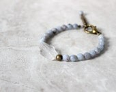 SALE 30% OFF - Crystal Quartz Bracelet, Gemstone Bracelet, Chunky Bracelet, Raw Stone Bracelet, Rough Cut Quartz Bracelet