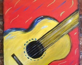 Original Acrylic Painting, guitar, colorful, 8x8, red, yellow, music, canvas, instrument, jazz, rock n roll, blues, abstract
