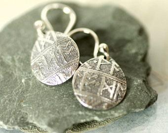 Petal Drop Earrings in Fine Silver with Rune Imprint