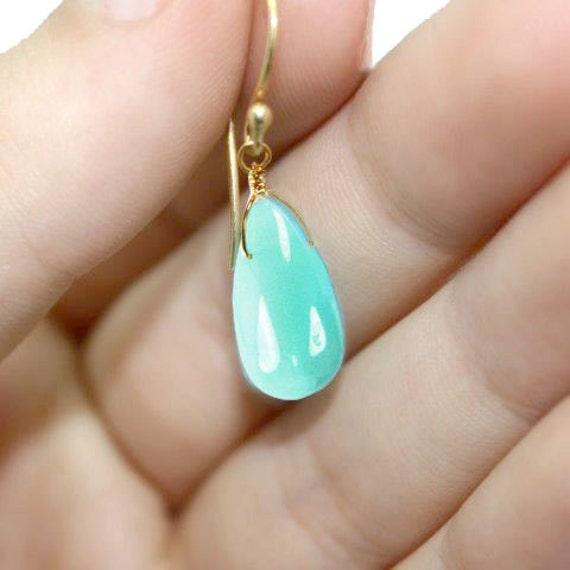 Indian Summer Collection. Aqua Opal Earrings. Peruvian Opal teardrops. Handmade Artisan Jewelry. 24k Gold Vermeil. EX.