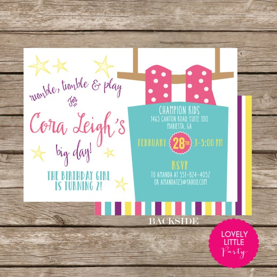 DIY Printable gymnastics kids gym Invitation