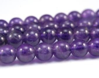 purple amethyst, natural amethyst round bead, 15 inch strand