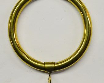12) New Mirror Polished 100% Brass Curtain Rod Rings, Large, 2 1/2 in. I.D. X 3 in. O.D.