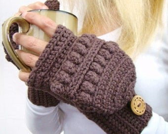 Taupe Convertible Fingerless Mittens, Crochet Glittens, Winter Fashion, Texting Mittens, Flip Top Mittens, Taupe Gloves, Ski Mittens