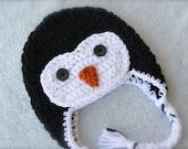 Crochet Penguin Baby Hat -girl option available