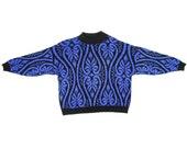 80s Leafy Design Blueish Purple Metallic Silver Acrylic Knit Vintage Sweater GFC LTD USA / Womens Medium/Large