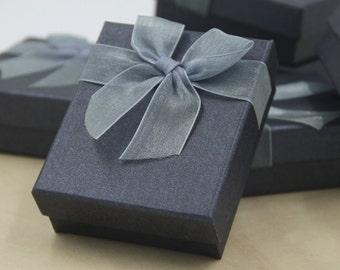 Set of 6, Fancy Dark Silver Gift Box, Jewelry Box, Organsa bufferfly