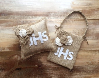 Monogram Burlap Ring Bearer Pillow & Flower Girl Bag Set - CUSTOM COLORS-Rosette and Jute Twine Detail-Wedding/Rustic/Country/Shabby Chic