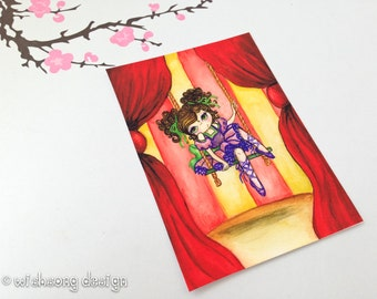 """Circus aceo print, circus painting, circus ballerina art, miniature painting, art card, big eye girl """"The Flying Trapeze"""" 2.5 x 3.5 inches"""