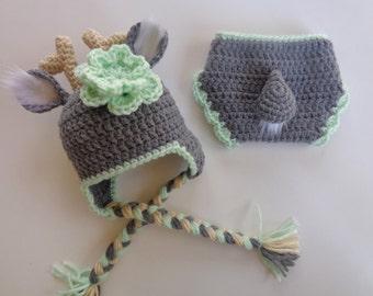 Newborn Crochet White Tail Deer Hat- Girls Hat- Photo Prop- Gray and Green- baby girl baby boy