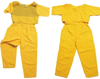 Yellow Jumpsuit/ 90s Jumper/ 90s Jumpsuit/ 80s Romper/ 80s Jumpsuit/  90s Romper/ Yellow Crop Top/ 90s Crop Top/ Romper Women/ Playsuit