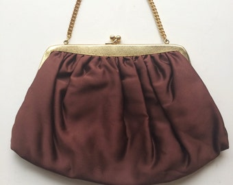 Vintage Satin Purse, Chocolate Brown Satin Evening Bag, Bridal Wedding Accessory