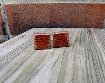 Leopard Wood Cuff Links Handmade