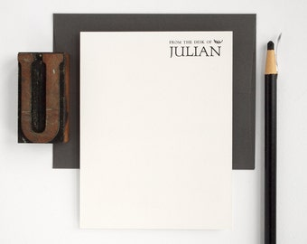 Letterpress Flat Stationery Set - Modern Note Cards - Dark Gray Forum