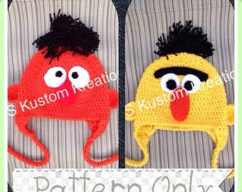 Sesame Street Bert and Ernie INSTANT DOWNLOAD PDF Hat Patterns