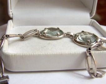 2 Stone Gemstone Bracelet Sterling Artisan Altered Authentic Vintage Oval Link Bangle Style Genuine Prasiolite
