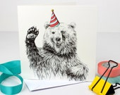 Waving Bear with Party Hat Greetings Card