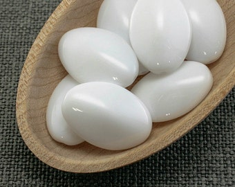 Oval Beads Snow white Large Czech Opaque Glass 23mm (6) last