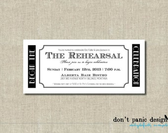 Vintage Printable Rehearsal Invitation Ticket - Black and White  - Wedding, anniversary