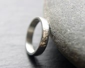 Recycled Argentium Silver Wedding Ring, Hammered Wedding Band, Unisex Design, 4mm Wedding Ring, Made To Order