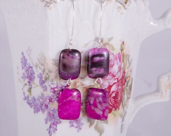 Fuchsia pink agate sterling silver dangle earrings with rectangle pink stones, agate earrings, long marquis hooks, handmade earrings