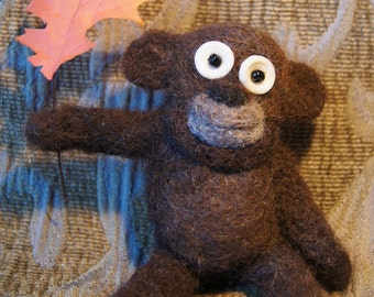 Goofy Hand Felted Bug-Eyed Bear, Can Personalize with Sign for Free