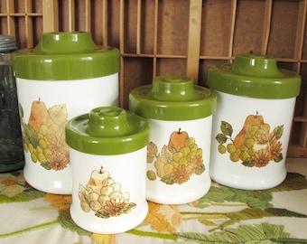 Vintage Nesting Kitchen Canister Set with Olive Green Lids and Pear, Grape and Flower Decoration