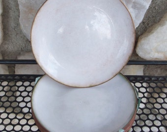 Vintage White Enamel on Copper Lot of 10 Dishes
