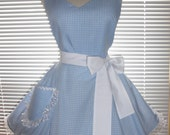 Sexy Retro Inspired Costume Apron Blue and White Gingham Full Circular Skirt - Ready to Ship