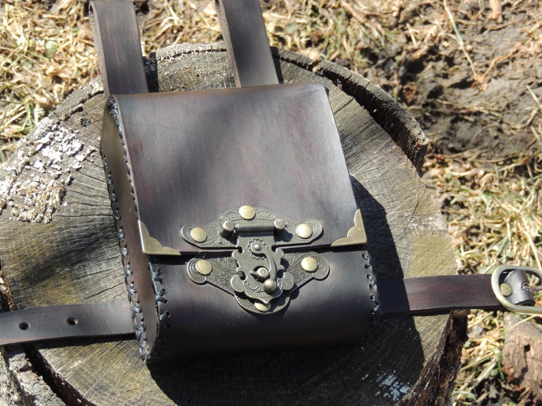 Brown Leather Adventure Pouch Belt Leg Bag Thigh Bag
