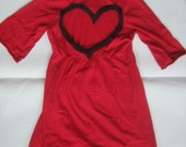 Red Heart Back Cowl Neck Tunic This OOAK is READY To SHIP Today!