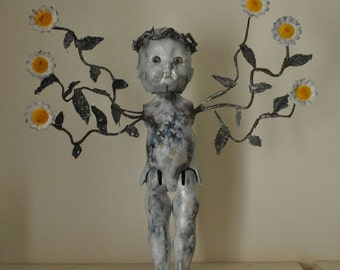 Daisy Angel Altered Doll Assemblage Art