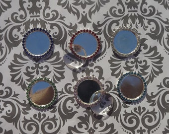 24 1 inch rhinestone bottle caps with 24 1 inch glass domes