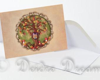 Autumn Tree Card, Tree of Life Card, Greeting Card, Blank Note Card, Greetings Card, Halloween Card, Christmas Card, Xmas Card, Holiday Card