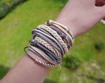 Gray Cream Boho Wrap Bracelet, Gray Beige Silver Gypsy Bracelet, Bohemian Bracelet, Women Bracelet, suede, double wrap, boho chic