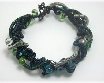 Black n Blue Beaded Wire Wrapped Bracelet