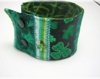 Four Leaf Clover Patchwork Fabric Bracelet Cuff