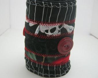 Skulls n Buttons Fabric Bracelet Cuff