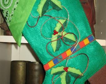 Handmade medium green felt cowboy boot, Christmas stocking