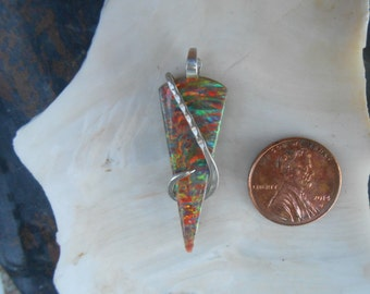 SOLD Kim Fire Opal  Silver Wrapped Pendant   sold     sold