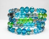Blue and Green Wrap Bracelet, Chunky Statement Bracelet, Crystal Wedding Bracelet, Blue Coil Bracelet, 4 strand bracelet, Something Blue