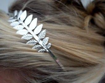 Grecian Goddess Silver Leaf Headband Silver plated laurel