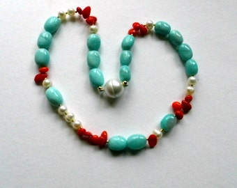 Amazonitkette, Amazonite, coral, chain, beads, magnetic clasp