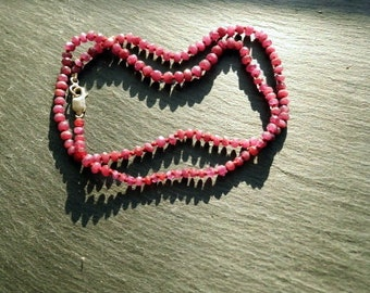 Chain, Ruby, Ruby necklace, Pearl necklace, red, silver