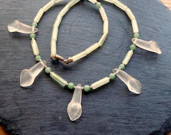 Serpentine necklace, necklace, serpentine, jade, mountain crystal, blossoms, bride, wedding