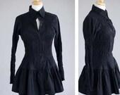 Women's clothing black dress shirt stretch ruffle tailored S-M