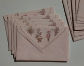 Decorative Envelopes - Pink paper with herbal illustration - Vintage Stationery - letter writing - corespondence  - love letters