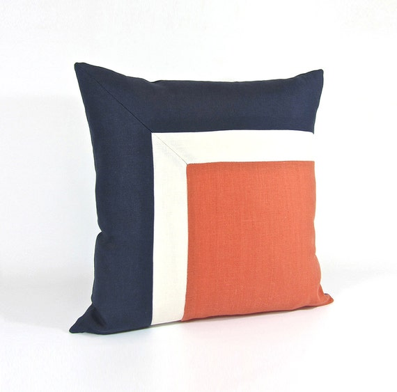 Modern Square Pillow Pull : Side Square Modern Colorblock Pillow Cover Navy/ Persimmon