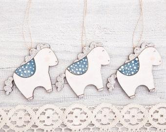 Wooden Christmas Ornament, Blue White Horse Tree Toys, Christmas Decor, Cute Holiday Ornament, Wooden Horses Set of 3 Xmas Ornament